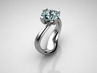 modern solitaire  engagement ring ri blue diamond