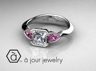 Diamond ring ri with pink sapphires in platinum